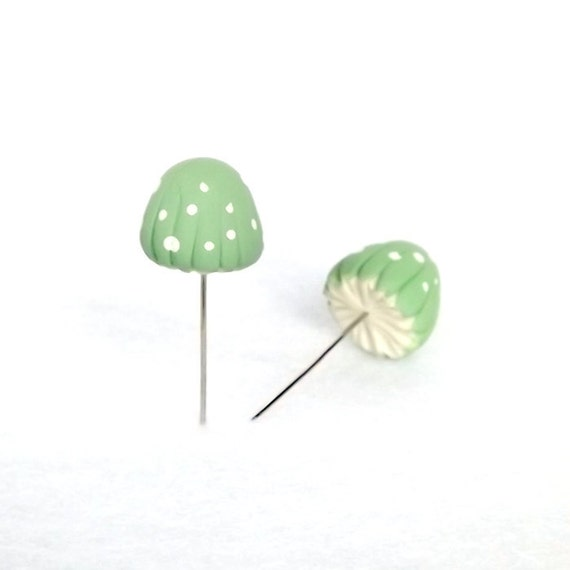 Mint Green Mushrooms Set of (2) Sewing Pins, Terrarium Decor Miniatures Made To Order