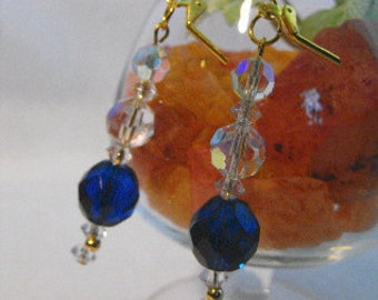 Sapphire Blue Earrings Crystals