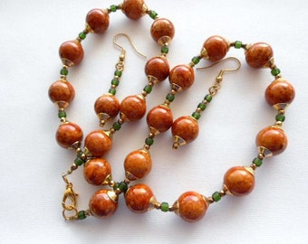 Brown Orange Fossil with Green Beads and Dark Gold Cones Necklace Set