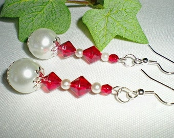 White Pearl Earrings Red Bicones