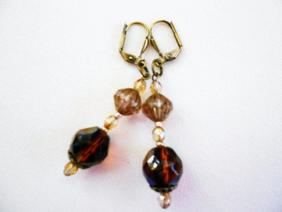 SUPER SALE 50% Off  Brown- Topaz Azuro Earrings on Antique Gold