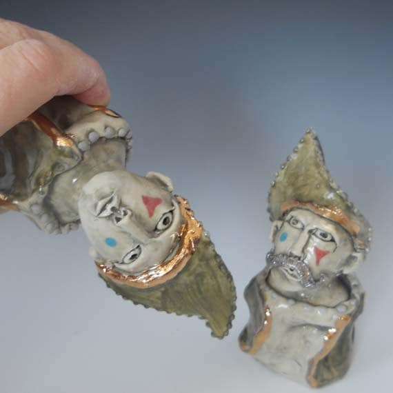 Sculptural Clown Salt and Pepper Shakers in Porcelain with 18k White and Yellow Gold Highlights