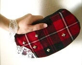 Wild Night in Glasgow - Studded Red Black and White Plaid Wristlet w Lace