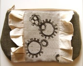 A Marvelous Machine - Steampunk Block Printed Zipper Pouch w Ruffles