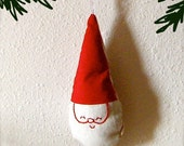 Happy Gnome Santa.  Red and White Linen and Cotton Christmas Ornament.