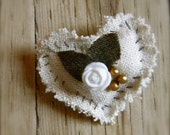 CLEARANCE SALE - Lilith Under the Rose Bush... Hand-stitched linen heart brooch.