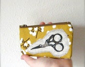 Mustard for Makers...Cotton zipper pouch with printed linen applique