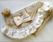 Good Luck Gold Dumpling... White and Gold zipper Pouch with bow, ruffle