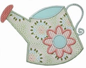 Watering can- Spring 4X4,5x7,6x10machine embroidery applique design -92
