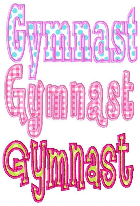 Gymnast machine embroidery applique design