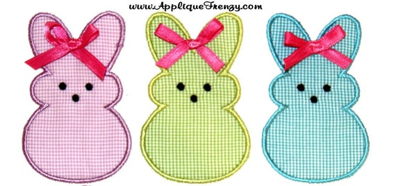 Marshmallow Peeps/ Bunny or Bunnies  4x4 and 5x7 machine embroidery applique design 38