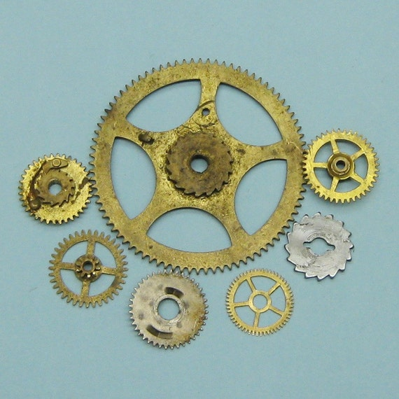 Antique Wheels And Gears : Vintage antique brass clock gears cogs wheels parts