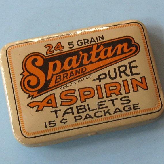Vintage Spartan Tin Aspirin Tin Old Store Stock Medical Tin