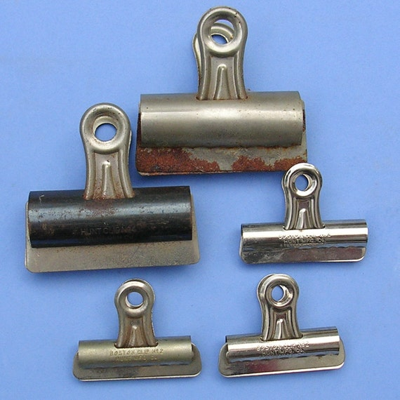 5 Vintage Rusty Metal Clips Clipboard Clips Paper Clip Clips