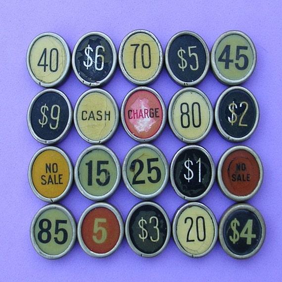Vintage Antique Cash Register Key Keys Numbered Oval Cash Register Key Keys Steampunk Jewelry DIY Jewelry