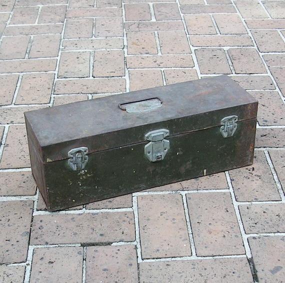 Vintage Metal Tool Box Rusty Industrial Metal Box Tool Box Tackle Box Garden Box