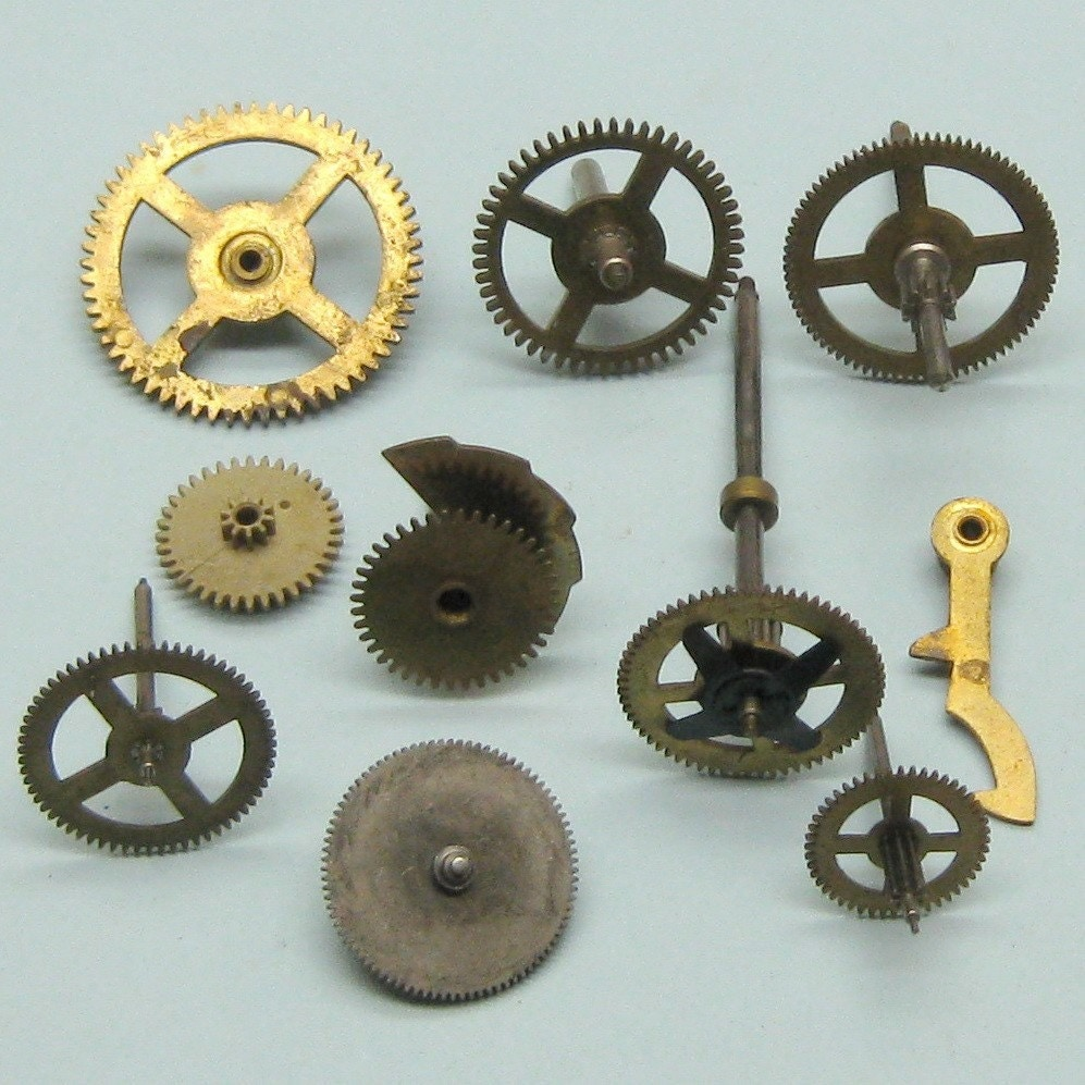 Antique Wheels And Gears : Vintage brass clock gears wheels cogs parts watch