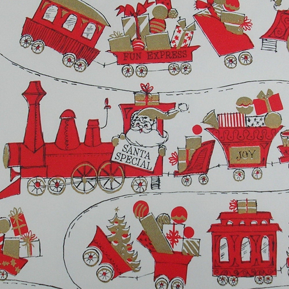 Vintage christmas gift wrap wrapping paper christmas paper for Paper christmas gifts