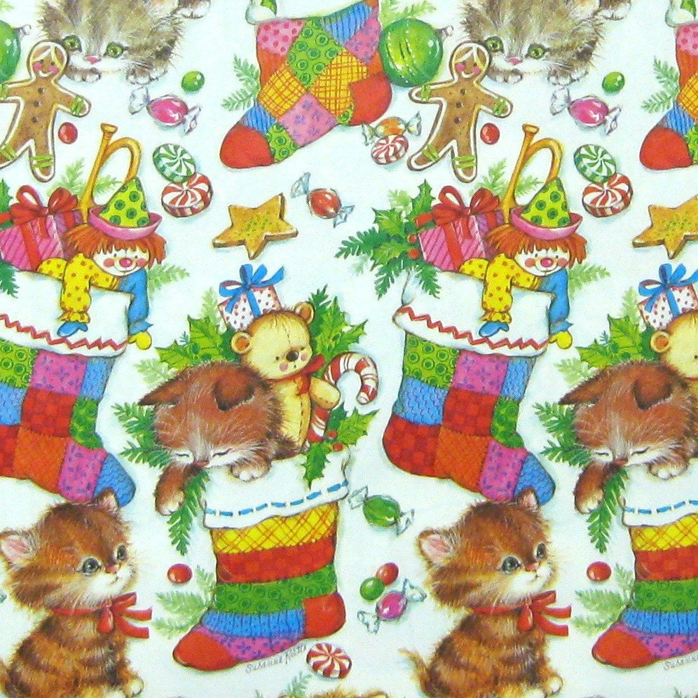 Vintage Christmas Kitten Cat Gift Wrap Wrapping By