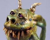 Monster Sculpture Art Doll, Ilhami the Green Monsterous Muse