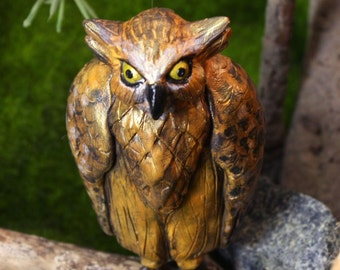 Owl Ornament, Sculpture, The Buffy Fish Owl ornament