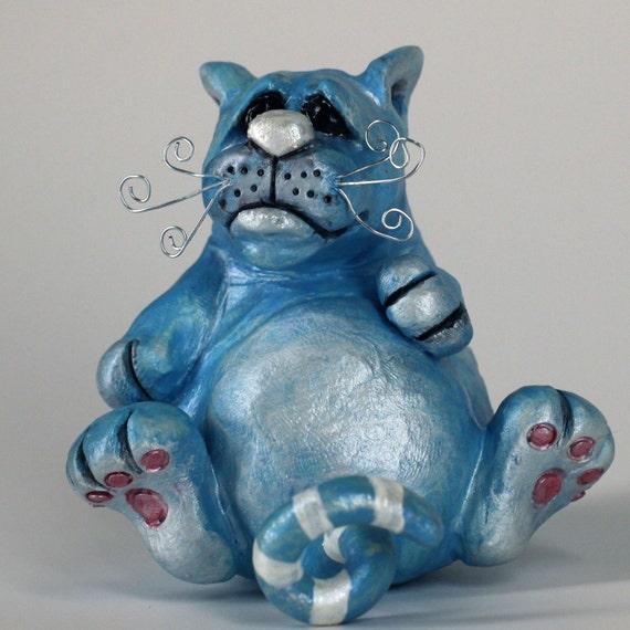 Fat Blue Cat Sculpture, Dob the chubby kitty who lovvvvves cat treats, sculpture