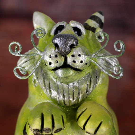 Lime Green Cat Sculpture, Linden the Green Kitty with Black Toes