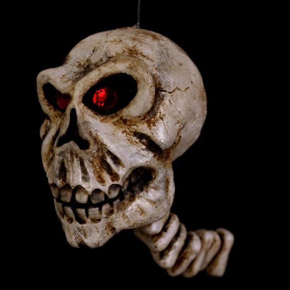 Skull, Glow-in-the-dark Halloween Ornament, Red Eyed Skull