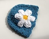 Lace Daisy Baby Beanie , Blue with White Flower - 2-5 mo