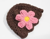Lace Scalloped Baby Beanie , Chocolate Brown with Pink Flower - 2-5 mo