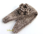 Knitted Flower Headband - Ear Warmer - Headpiece in Washed Jean Taupe