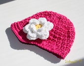 Baby Flower Beanie with Brim - 0-3mo