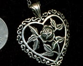 SALE Sterling Heart and Flower Pendant - Vintage