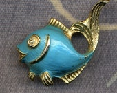 1960s Little Blue Fish Pin