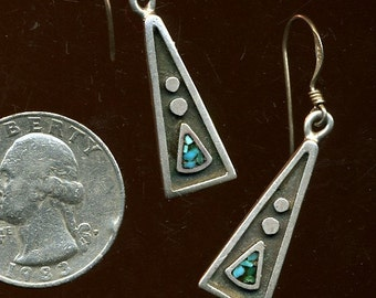 SALE SALE Vintage American Indian Sterling and Turquoise Earrings