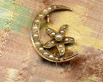 SALE SALE SALE Antique Victorian 14k Gold and Pearl Honeymoon Brooch