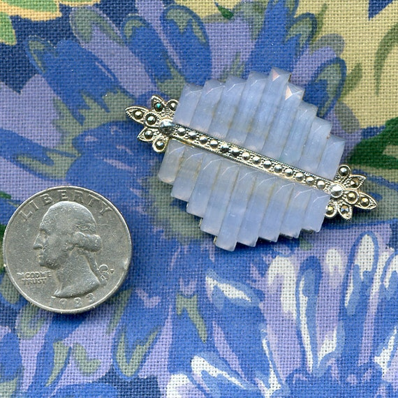 Art Deco Czech Glass and Silver Pin