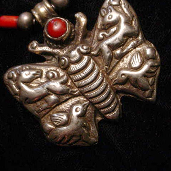 Coral and Silver Butterfly Griffon Necklace