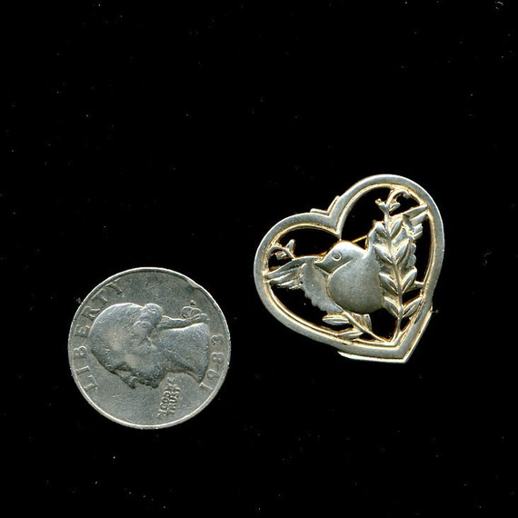 Vintage Coro Sterling Heart and Bird Pin