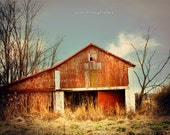 The Little Red Barn -  vibrant photography art.