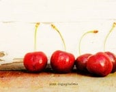 Sale - take 20% off  5 x 7 kitchen art photography cherries red cottage chic