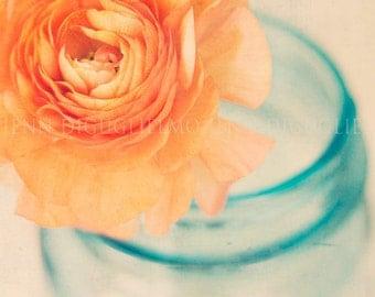 Fine art photography  -  Cottage style photography print -  blue orange floral peony