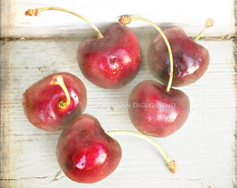Still life photography, kitchen fine art photography, nature print, red cherry rustic print