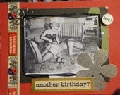 birthday spanking card. MATURE. blank inside. naughty vintage.