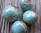 Four Robins Egg Blue  Hand Rolled Ceramic Beads
