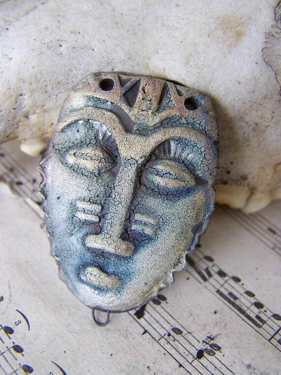 Reserved for Winnnnnndy African Savanah  Carolina Midnight BlueCast Power Mask Raku Statement Pendant