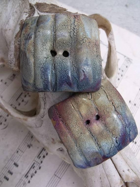 The Northern Lights...Raku Square Two Hole Buttons