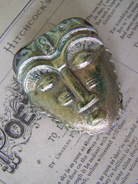 Reserved for Winnnnnndy King Solomans Mine... Gold Cast  Mask...Raku Statement Cabochon