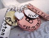 Family History mixed metal mothers necklace hand stamped