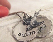 mothers necklace - Mamma's Nest antiqued custom name necklace with bird charm - hand stamped necklace